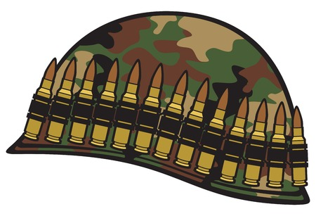 ammo: military helmet with ammo belt and camouflage pattern cover