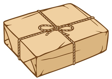 packaged: parcel box with rope paper parcel, parcel box with kraft paper, packaged box Illustration