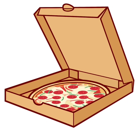 pizza on cardboard pizza in box, open packing box for pizza