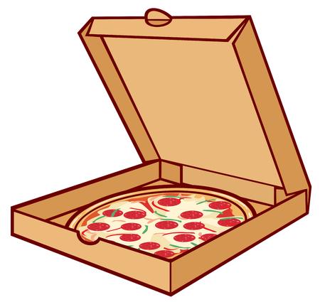 pizza: pizza en la pizza de cartón en caja, caja de embalaje abierto para la pizza