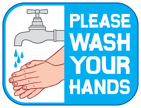 Por favor, lavar su muestra Por favor lávese las manos icono, por favor, lave el símbolo de las manos, por favor, lave la etiqueta de manos Foto de archivo - 47946283