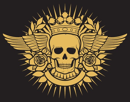 hagebutten: skull symbol - skull tattoo design crown, laurel wreath, wings, roses and banner