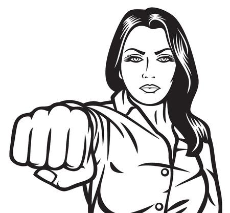 woman punching beauty girl punching