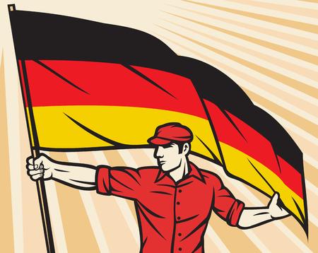 Travailleur tenant le drapeau allemand - industrie de conception de l'industrie de l'affiche, travailleur de la construction et le drapeau de l'Allemagne