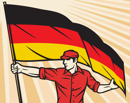 germany: Worker holding German flag - industry poster industry design, construction worker and flag of Germany