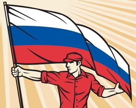 russian federation: Worker holding Russian flag flag - industry poster industry design, construction worker and flag of Russia