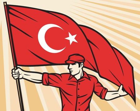 turkish flag: Worker holding flag of Turkey - industry poster industry design, construction worker and Turkish flag