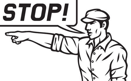 travailleur avec le discours d'arrêt bulle homme pointant son doigt, l'homme de bande dessinée pointant son doigt Vecteurs