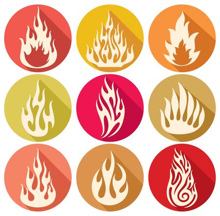 llamas de fuego: conjunto de vectores de las llamas iconos de fuego llamas, fuego icono conjunto, iconos, s�mbolos de llama de fuego