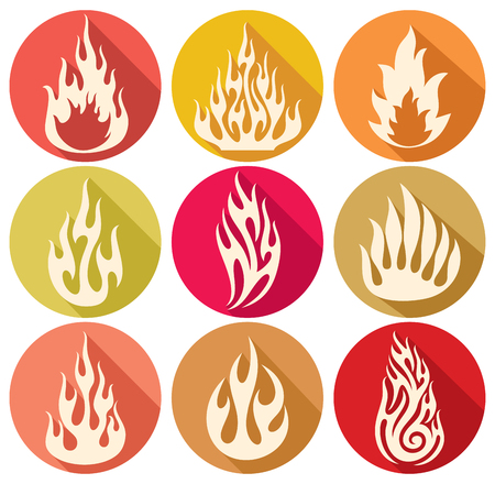 flames: set of vector flames icons fire flames, fire icon set, flame icons, fire symbols