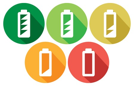 accumulate: batteries with different charge levels flat icons battery levels icons set, battery level indicator, different states of charged battery icon Illustration