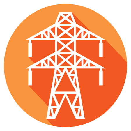 high tension: power line flat icon electric transmission line symbol Illustration