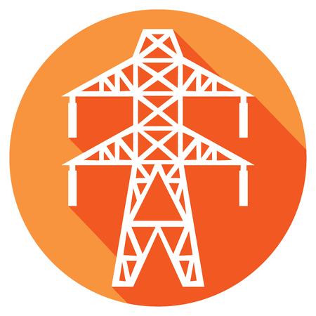 power line flat icon electric transmission line symbol Illustration