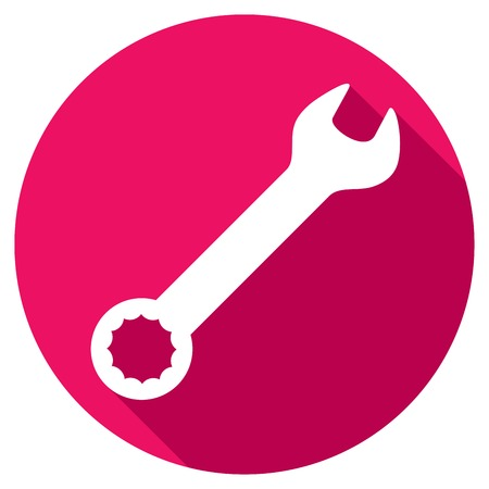 manual: hand wrench tool or spanner flat icon