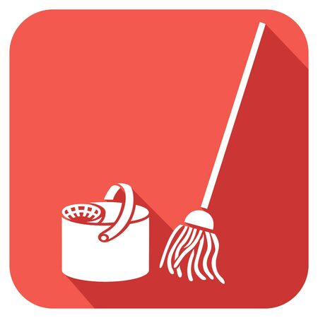 transfuse: bucket and cleaning mop flat icon