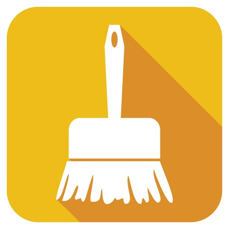 dust pan: sweeping brush flat icon Illustration