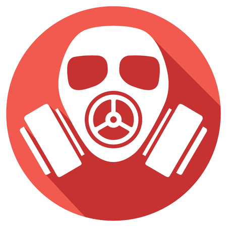 gas mask warning sign: gas mask flat icon gas mask warning sign, army gas mask icon, protective gas mask button, gas mask danger sign