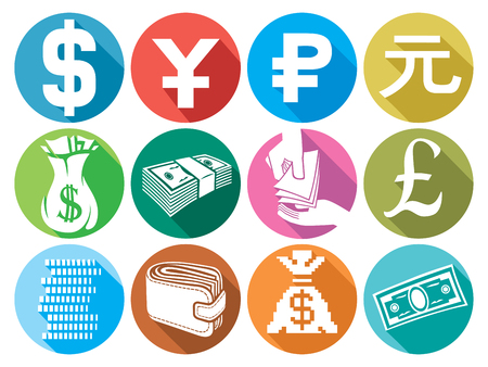 hand with money: money flat icons set finance or banking icons, money bag, bag with coins, hand giving money, stack of coins, wallet Illustration