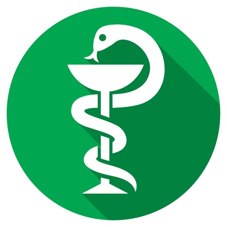 snake and a bowl: snake and a bowl medical symbol flat icon emblem for drugstore or medicine sign, bowl of hygieia, pharmacy snake sign Illustration