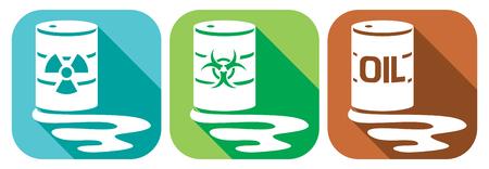 iconos planos de contaminación fijados - barriles con residuos nucleares, los residuos de riesgo biológico y barriles de petróleo con residuos peligrosos, barriles con sustancias peligrosas