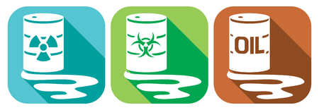 substances: pollution flat icons set - barrels with nuclear waste, biohazard waste and oil barrels with hazardous waste, barrels with dangerous substances
