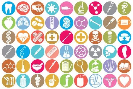 Conjunto médico del icono (riñón, pulmones humanos, farmacia símbolo de la serpiente, primer signo de ayuda médica, cráneo, dientes, estetoscopio, cerebro, microscopio, jeringa, cadena de ADN, corazón, primeros auxilios, ambulancia furgoneta) Foto de archivo - 53742239