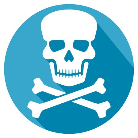 deadly danger sign: skull and bones flat icon Illustration