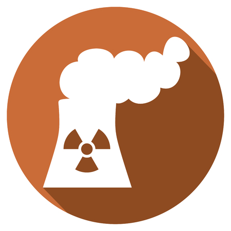 toxic emissions: nuclear power plant flat icon (nuclear power station symbol)