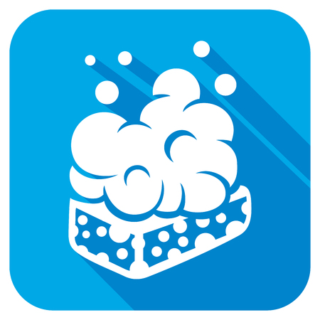 wet: wet soap with foam flat icon Illustration