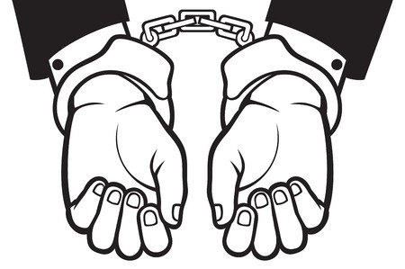 incarceration: hands in handcuffs (man hands with handcuffs)