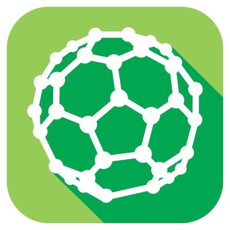 allotrope: molecular structure of the C60 buckyball flat icon (nanostructure fullerene C60 sticks molecular model flat icon)