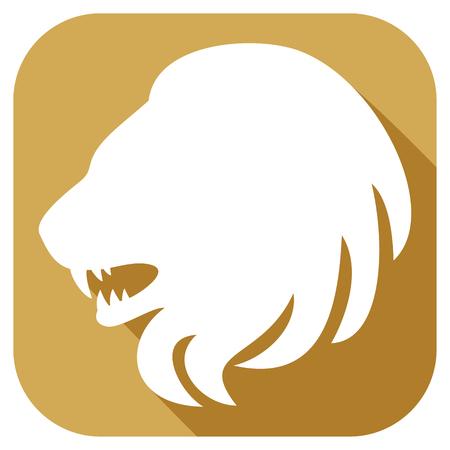 royal safari: lion head flat icon (lion zodiac sign)