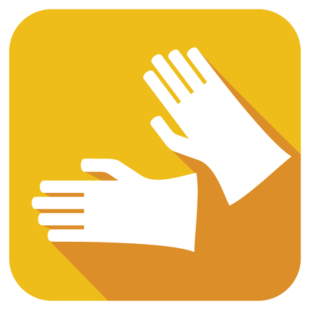 cleanness: protective rubber gloves flat icon
