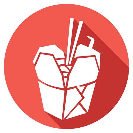 kínai gyorsétterem lapos ikon (kínai takeout doboz, kínai elvitelre konténer)