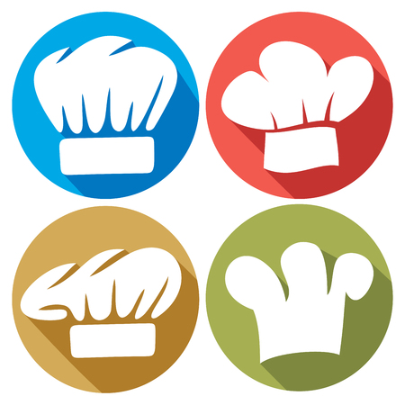 replaceable: chef hat flat icons Illustration