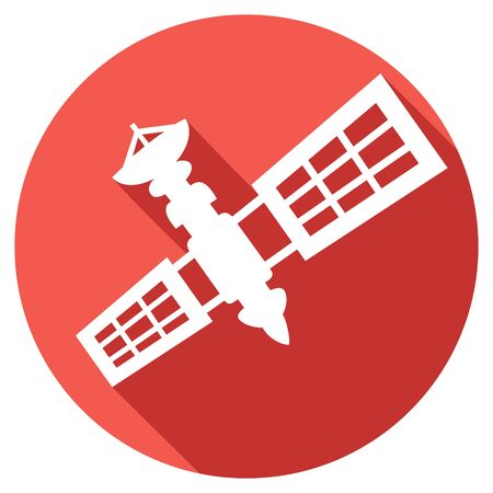 orbital station: satellite flat icon