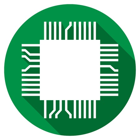 semiconductors: computer microchip flat icon (electronic component symbol)