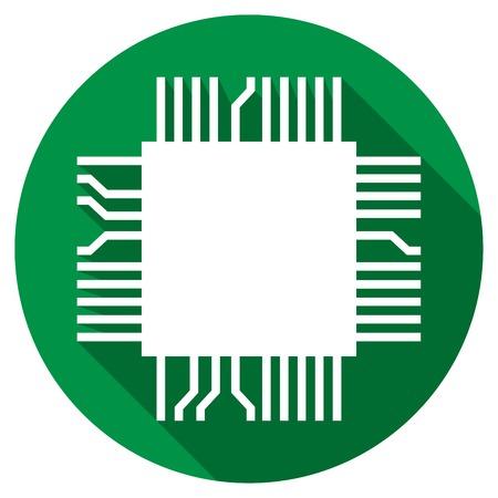 componentes: microchip ordenador icono plana (símbolo del componente electrónico) Vectores