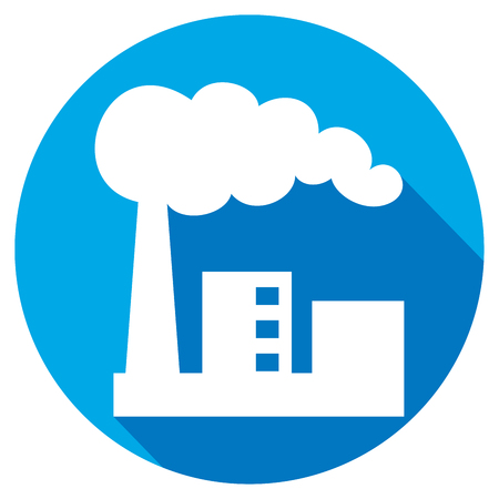 toxic cloud: industrial plant flat icon (industrial buildings factory, industrial factory symbol) Illustration