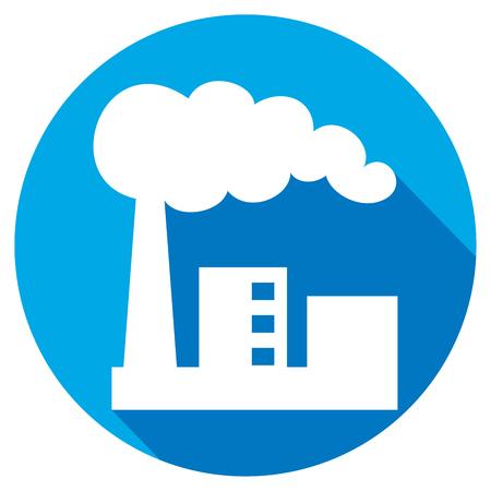 edificio industrial: planta industrial icono plana (fábrica de edificios industriales, símbolo fábrica industrial)