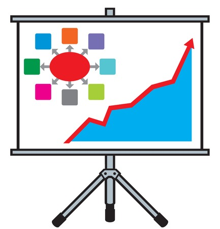 projector screen: projector screen with business graph (business presentation concept)