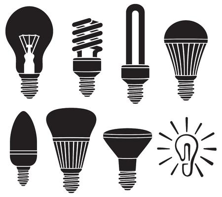 tungsten: light bulbs icons set Illustration