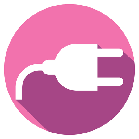 wire pin: power plug flat icon (power cord symbol) Illustration