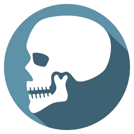 terrify: human skull profile flat icon