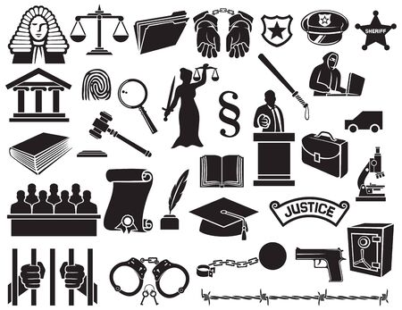 handcuffed: law and justice icons set