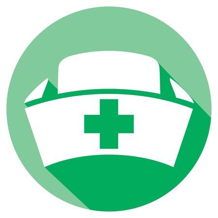 enfermera con cofia: casquillo de la enfermera icono plana (signo sombrero médica) Vectores