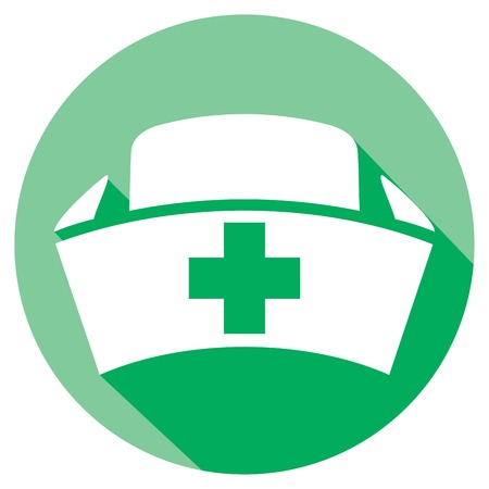 surgical nurse: nurse cap flat icon (medical hat sign)