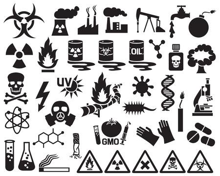 gevaar, vervuiling en gevaar pictogrammen instellen (vaten met nucleair afval, gasmasker, kerncentrale, sigaret, DNA, dynamiet, explosie, fabriek, gas, Biohazard, gasmasker, straling teken, pijpleiding)
