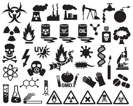 chemical hazard: hazard, pollution and danger icons set (barrels with nuclear waste, gas mask, nuclear power station, cigarette, DNA, dynamite, explosion, factory, gas, biohazard, gas mask, radiation sign, pipeline)