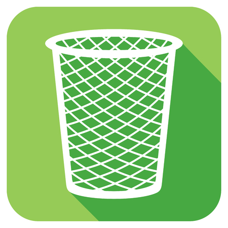 wastepaper basket: trash bin flat icon Illustration